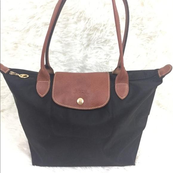 free shipping 766f5 dd090 Longchamp Handbags - Longchamp Le Pliage small long handle black tote